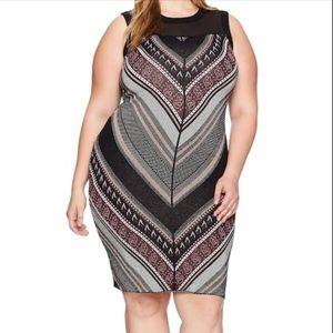 NWT Rachel Roy Chevron Tweed Sweater Dress Sz 2X